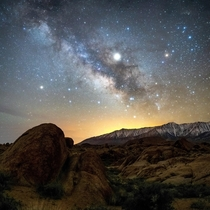 Milky Way giving way to the rising sun Lone Pine CA