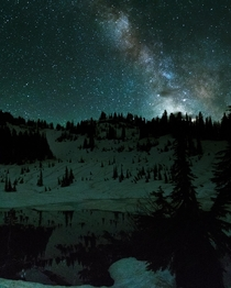 Milky Way has over small pond off Chinook Pass Washington