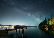 Milky Way over a pier on north Lake Tahoe last night x-post rspace