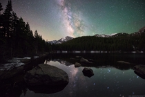 Milky Way over Bear Lake in Rocky Mountain National Park