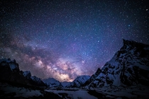 Milky Way over Concordia Camp Pakistan taken by Anne Dirkse