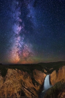 Milky Way over Lower Yellowstone Falls Yellowstone National Park  photo by Royces NightScapes