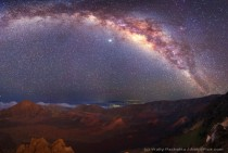 Milky Way over Moonlit Haleakala Crater x