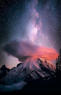 Milky Way Over Mt Rainer with lenticular cloud formation Washington State USA