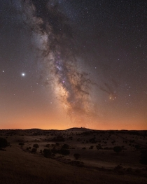 Milky Way over the unforgettable Alentejo landscapes Guadiana Valley Natural Park Portugal