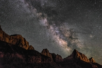 Milky Way over the Watchmen in Zion National Park