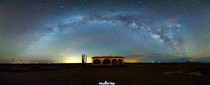 Milky Way Panorama above abandoned house