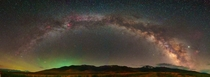 Milky way Panorama over Hole in the Mountain Peak NV