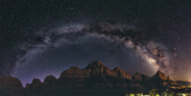 Milky Way panorama over The Watchmen Fantastically dark skies even with the light from Springdale to the right Zion National Park Utah