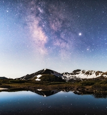 Milky Way plus Full Moon and an Alpine Lake at Independence Pass  ft Colorado