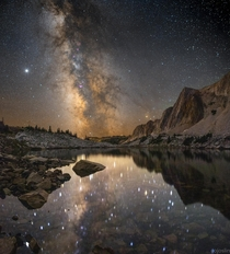 Milky Way reflected over lake in a Bortle  zone