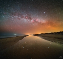 Milky Way reflecting in a beach puddle Norhern Denmark