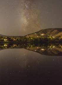 Milky Way reflections over Wonderland Lake in Boulder with a lot of light pollution