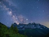 Milky Way riding over Logans pass in Glacier National Park MT  x