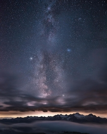 Milky Way Rises Above the Southern Horizon as Viewed From Mt Baker in WA - USA