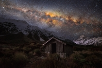 Milky Way rising over Aoraki National Park in New Zealand