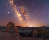 Milky Way Rising Over Arches National Park With a Couple Perseids on the Side
