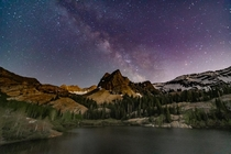 Milky Way rising over Lake Blanche - single exposure - Utah OC  IG explore_with_tristan