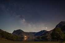 Milky Way rising over lake Buttermere and the surrounding hills  Lake District UK
