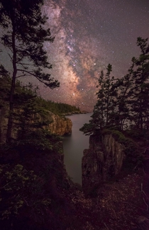 Milky Way rising over the Atlantic seen from the Schoodic Peninsula in Acadia National Park