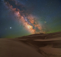 Milky Way Rising Over Waves of Sand in Great Sand Dunes National Park