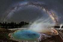Milky Way seen over Silex Spring in Yellowstone National Park photo by David Lane July