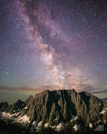 Milky Way sets behind Floe Peak Kootenay NP