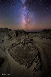 Milky Way setting over alien rocks in Salt Point State Park CA