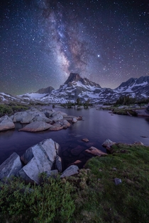 Milky Way shining brightly over Banner Peak amp Thousand Island Lake Ansel Adams Wilderness