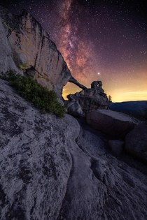 Milky Way shining brightly over Indian Rock Yosemite National Park