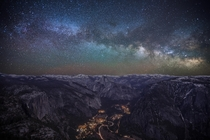 Milky Way shining brightly over Yosemite Valley