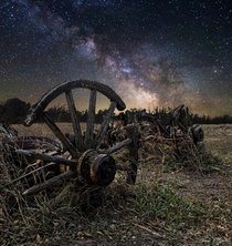 Milky Way Stars shine bright over this long forgotten wagon in a field somewhere in Central South Dakota  Photo by Aaron J Groen