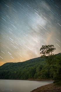 Milky Way Trails composite over Switzer Lake VA