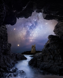 Milky Way visible from a cave on the Australian coast