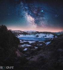 Milkyway over frozen lake in Glaubenberg Switzerland