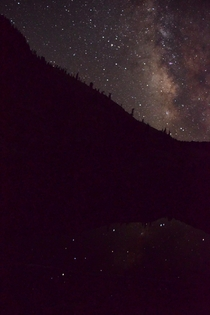 Milkyway reflecting in a lake in Trinity Alps