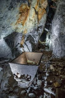 Mine cart in abandoned lead mine Scottish Highlands