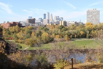 Minneapolis MN from the East Bank UMN campus overlooking the Mississippi river