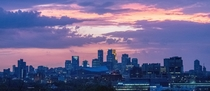 Minneapolis MN set ablaze by a pink and purple sunset