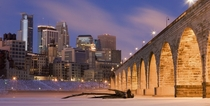 Minneapolis viewed from the frozen Mississippi River