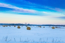 Minnesota Farmland under a colorful winter sky
