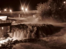 Minor flooding at night- Winooski One Hydroelectric Dam Vermont