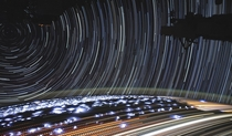 -minute timelapse made of  photos taken by Christina Koch from the ISS July  Most of the horizontal streaks are cities except for the amber dotted lines which are fires in Angola and Congo The circular lines are stars I guess the bright blue bursts are li