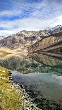 Mirror Dimension at Chandra Lake Spiti Vally Himachal India