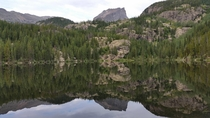 Mirror finish on Bear Lake in the morning at Rocky Mountain National Park Colorado US