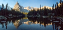 Mirror Lake and Lone Eagle in the Indian Peaks Wilderness with forest fire haze