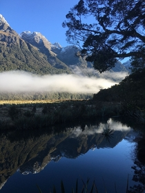 Mirror Lakes in Fiordland National Park New Zealand