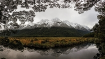 Mirror Lakes Te Anau to Milford Sound New Zealand