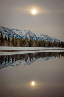 Mirrored reflection near Johnson Lake in Alberta Canada