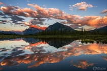 Mirrored Sunset at Vermillion Lakes near Alberta CA